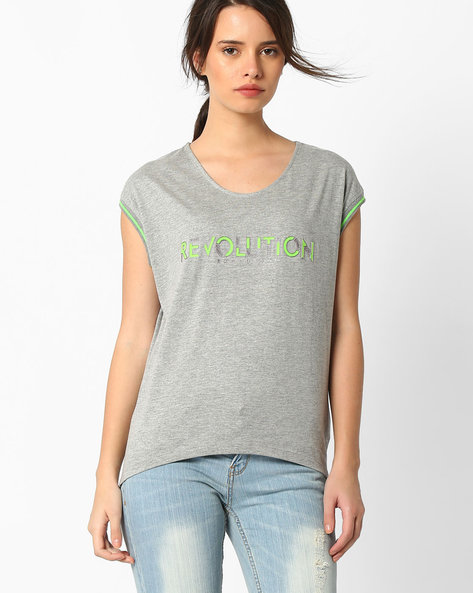 Cotton Top With High-Low Hem By TEAM SPIRIT ( Greymelange )