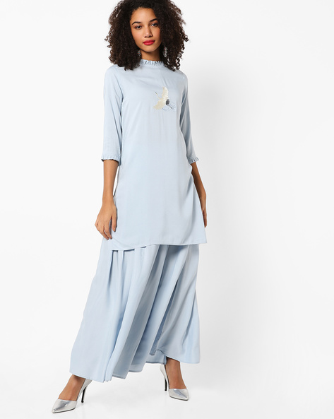 Tunic With Bird Embroidery By AJIO ( Lightblue )