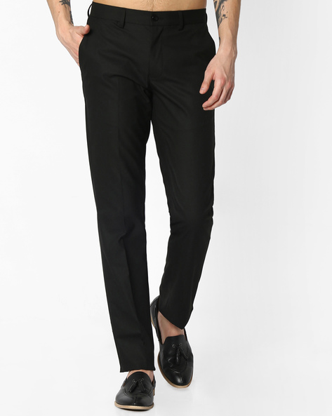 Flat-Front Slim Fit Trousers By NETWORK ( Black ) - 440723711006