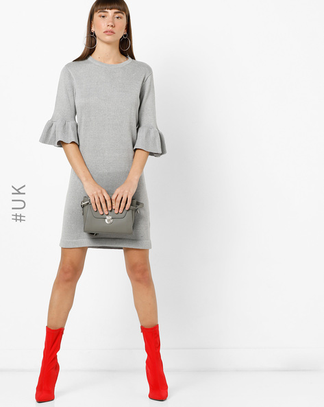 Sweater Dress With Flared Sleeves By BRAVE SOUL ( Grey )