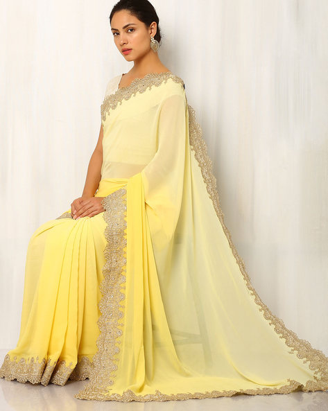 Zari Embroidered Pure Silk Saree By Rudrakaashe-MSU ( Yellow )