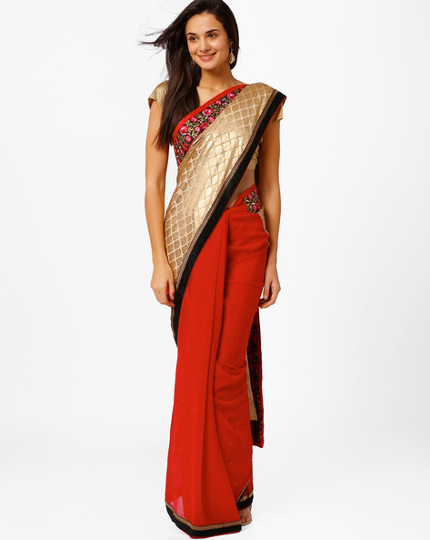 Embroidered Half-and-Half Saree By Akoya ( Red )