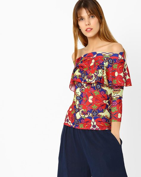 Printed Off-Shoulder Top By Sassafras ( Red )