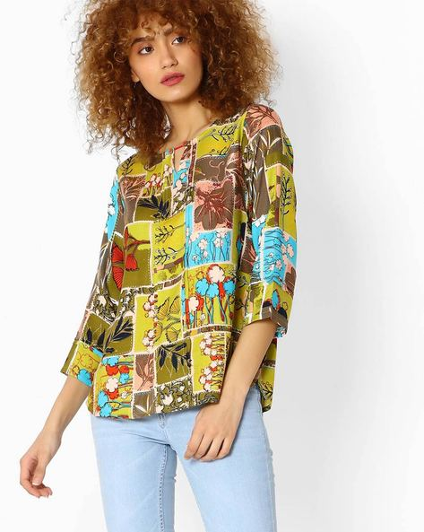 Printed Top With Curved Hem By Global Desi ( Lime )