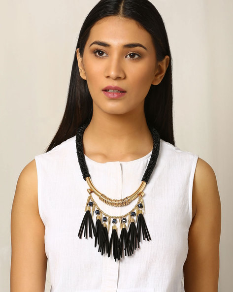 Beaded Necklace By Indie Picks ( Black )