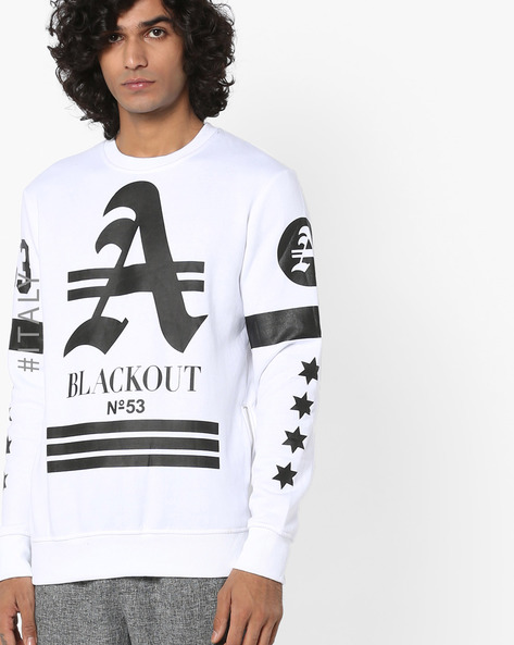 Graphic Print Sweatshirt With Side-Zips By ALCOTT ( White )