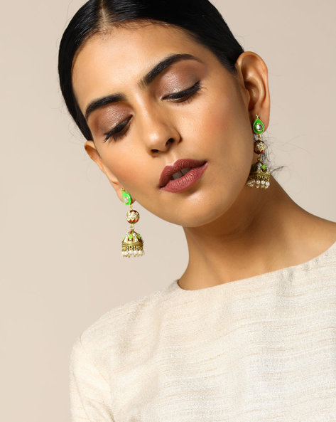 Enamel Brass Drop-Earrings By Studio B40 ( Multi ) - 460095219001