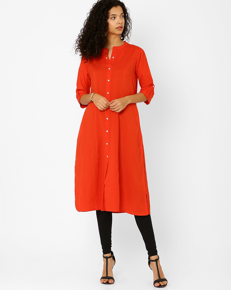 Cotton Dress With Front Button Placket By Khimsariya ( Orange )