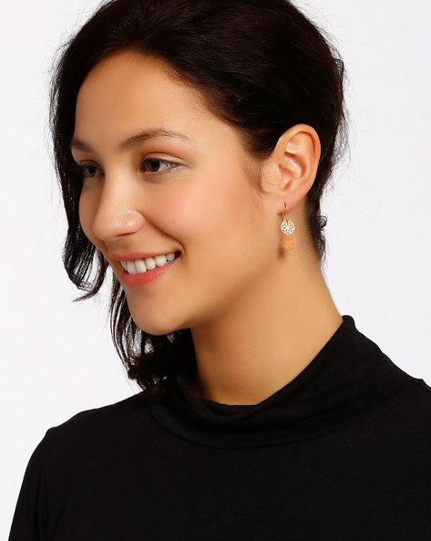 Gold-Plated Drop-Earrings By Shabnam Gitanjali ( Orange )