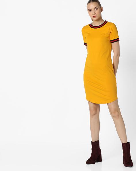 Jersey Dress With Curved Hemline By AJIO ( Yellow )