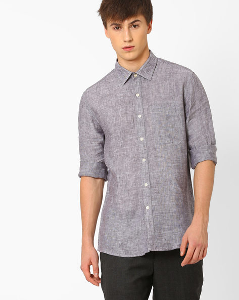 Linen Shirt With Patch Pocket By NETWORK ( Black )