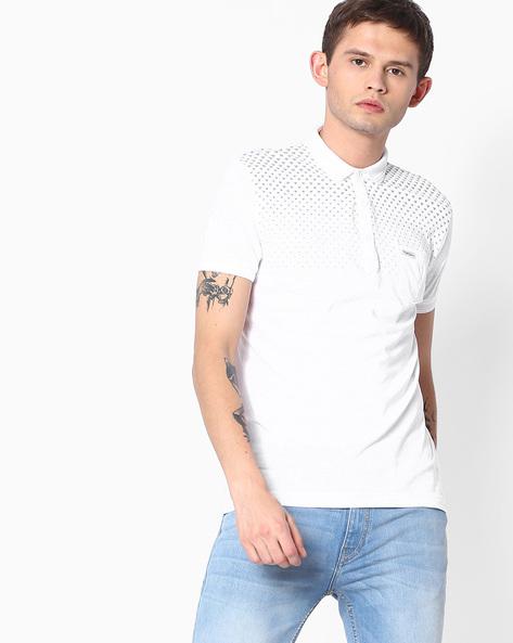 Geometric Print Polo T-shirt By MUFTI ( White )