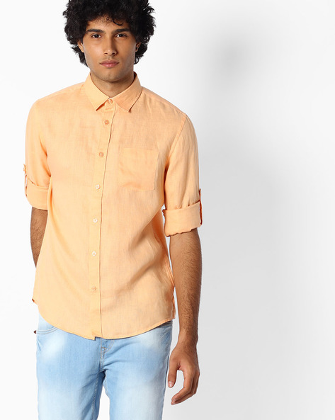 Pure Linen Shirt With Roll-Up Sleeves By Celio ( Orange )