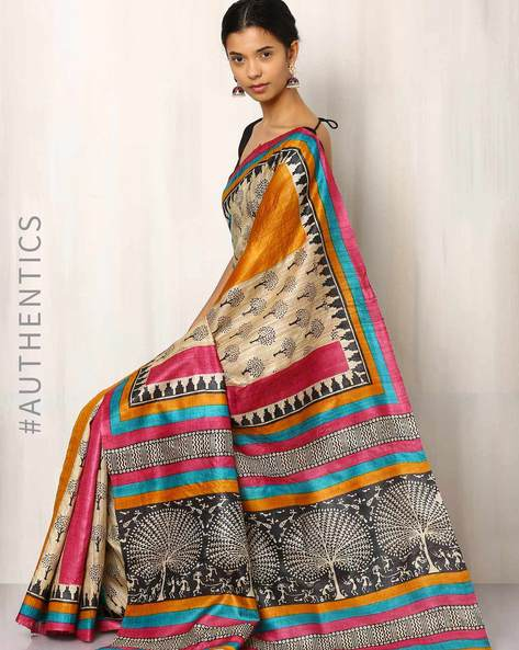 Handblock Print Pure Kosa Ghicha Silk Saree By Indie Picks ( Multi ) - 460019579001
