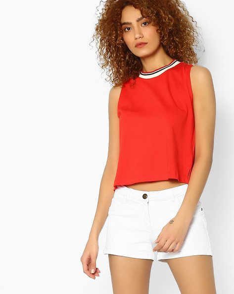 Sleeveless Cotton Top By Ginger By Lifestyle ( Orange )