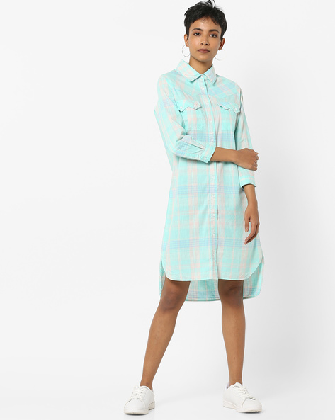 Checked Longline Shirt With Flap Pockets By AJIO ( Blue )