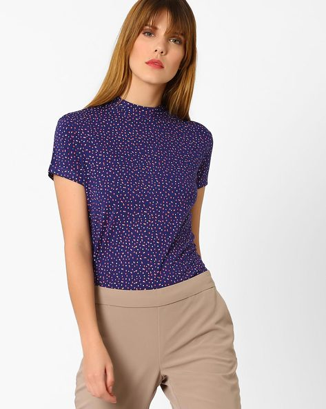 Ditsy Print Top With Back Cutout By AJIO ( Navyblue )