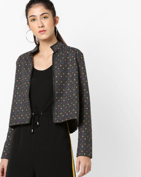 Knitted Open-Front Jacket With Woven Motifs By AJIO ( Grey )