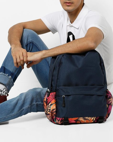 Backpack With Printed Side Pockets By AJIO ( White )
