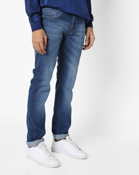 Lightly Washed Slim Fit Jeans By Pepe Jeans ( Indigo )