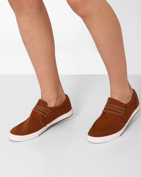 Canvas Slip-On Sneakers By Spunk ( Brown )