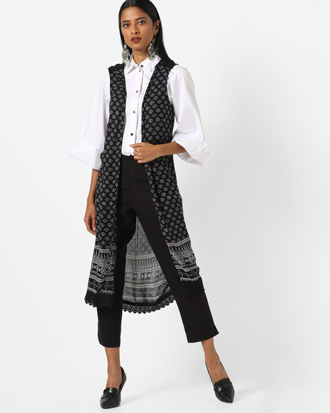 Printed Open-Front Shrug By Oxolloxo ( Black )