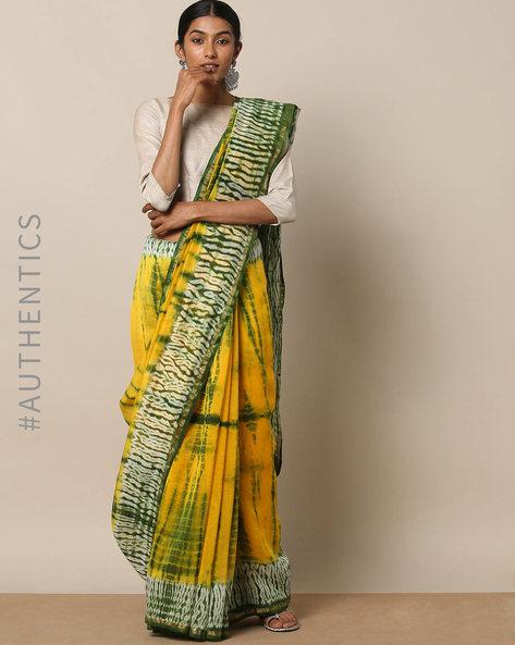 Shibori Tie Dye Chanderi Saree With Zari By Indie Picks ( Multi ) - 460146852001