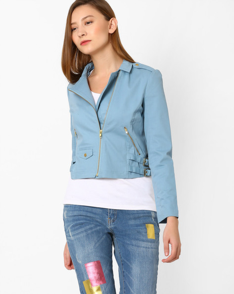 Twill Jacket With Zip Detailing By AJIO ( Lightblue )