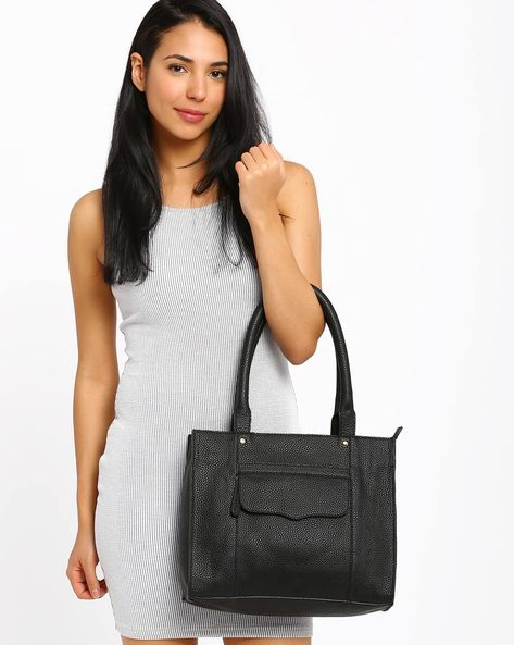 Tote Bag With Flap Pocket By AJIO ( Black )