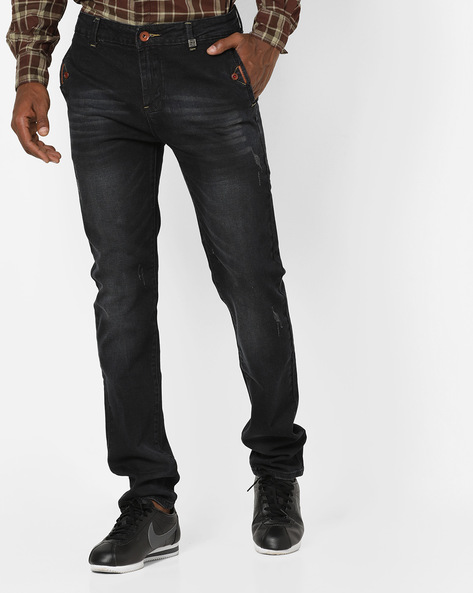 Slim Fit Distressed Jeans By RexStraut JEANS ( Blue )