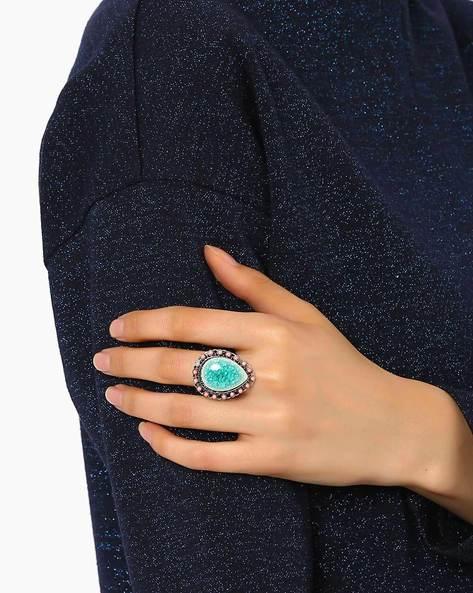 Cocktail Ring By AJIO ( Lightblue )