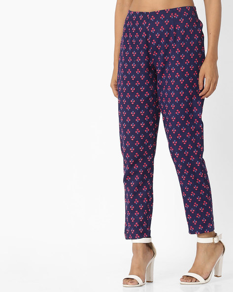 Pants With Floral Block Print By Arah ( Navyblue )
