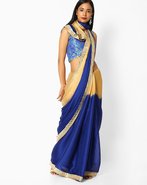 Ombre-Dyed Saree With Embroidered Border By Majestic Silk ( Blue )