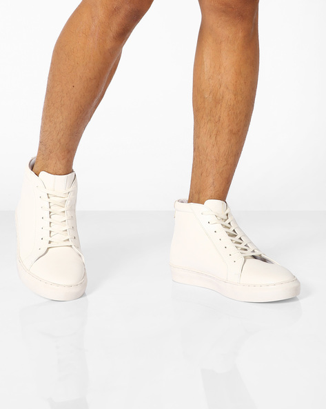 Faux-Leather Mid-Cut Sneakers By AJIO ( White )