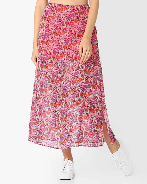 Floral Print Maxi Skirt By AJIO ( Pink )