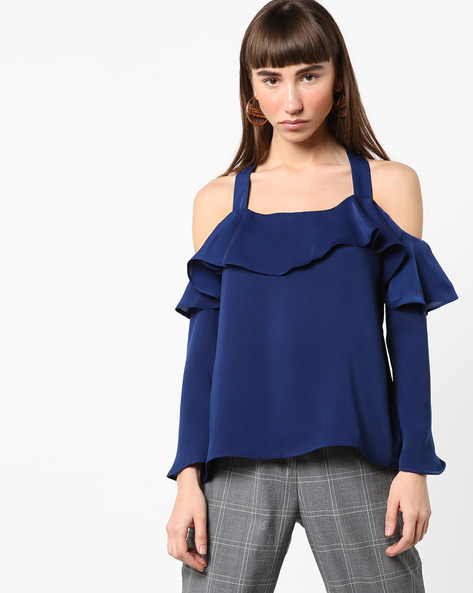 Cold-Shoulder Top With Ruffled Overlay By AJIO ( Blue )