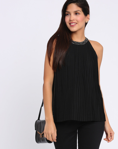 Pleated Top With Embellished Neckline By Annabelle By Pantaloons ( Ecru )