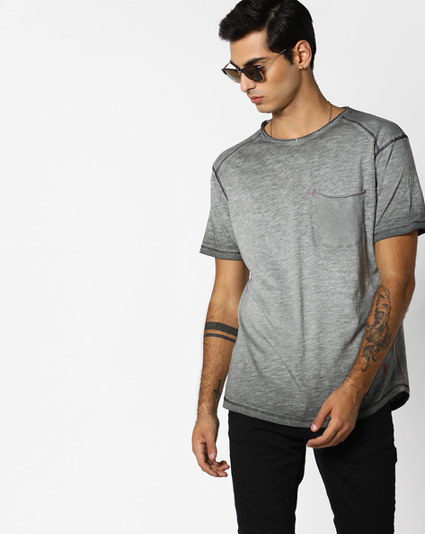 Slub-Knit T-shirt With Patch Pocket By RINGSPUN ( Grey )