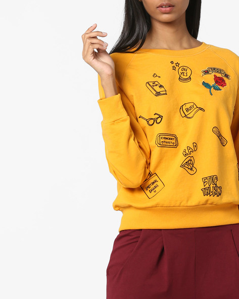 Printed Sweatshirt With Ribbed Hems By DNMX ( Mustard )