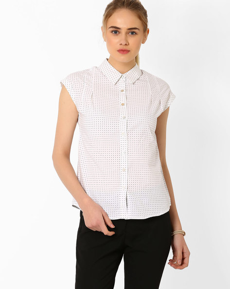 Printed Shirt With Cap Sleeves By Annabelle By Pantaloons ( Offwhite )