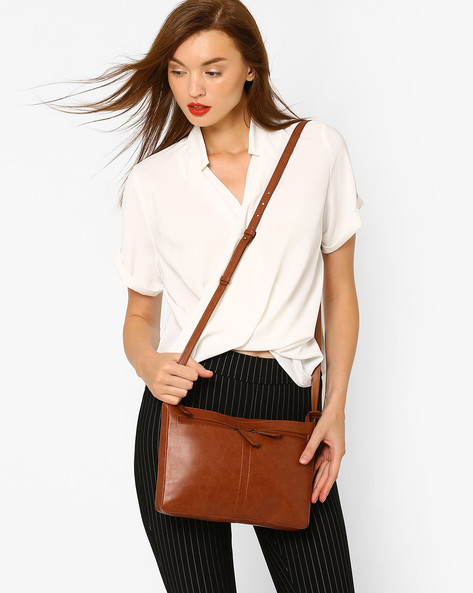 PU Sling Bag By AJIO ( Brown )