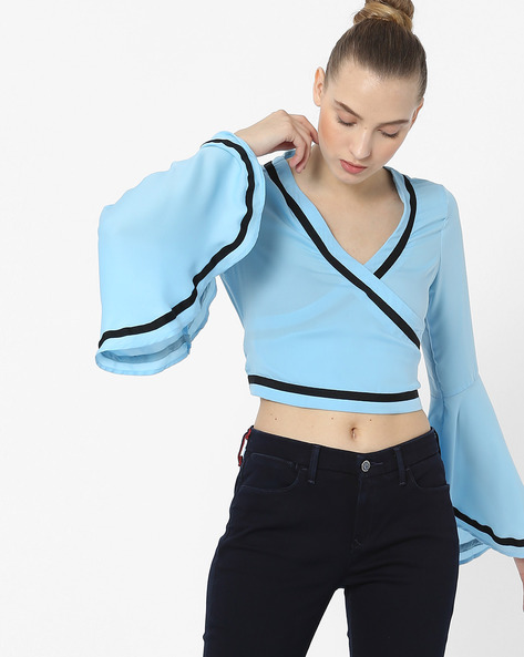 Cropped Wrap Top With Bell Sleeves By AJIO ( Blue )
