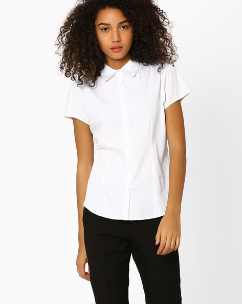 Cotton Shirt With Short Sleeves By FIG ( White )