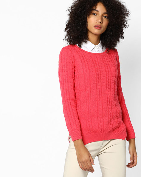 Knitted Sweater With Ribbed Hems By Fame Forever By Lifestyle ( Coral )