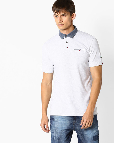 Cotton Polo T-shirt By NETPLAY ( Ltgrey )