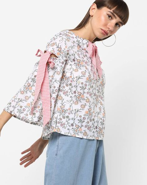 Floral Print Top With Striped Tie-Ups By AJIO ( Offwhite )