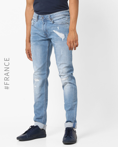 Distressed Mid-Rise Slim Fit Jeans By Kaporal ( Lightgrey )