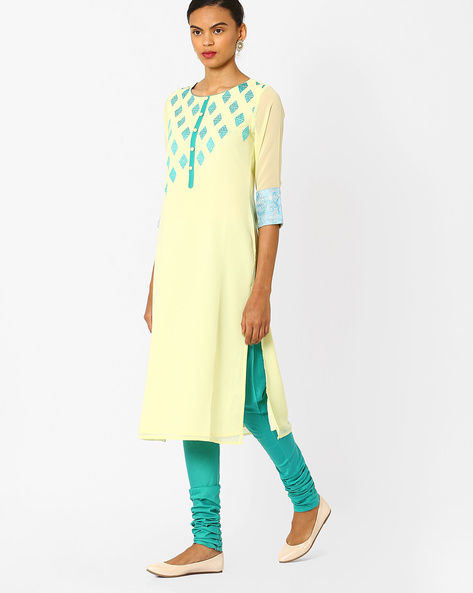 Straight Kurta With Contrast Embroidery By AJIO ( Yellow )