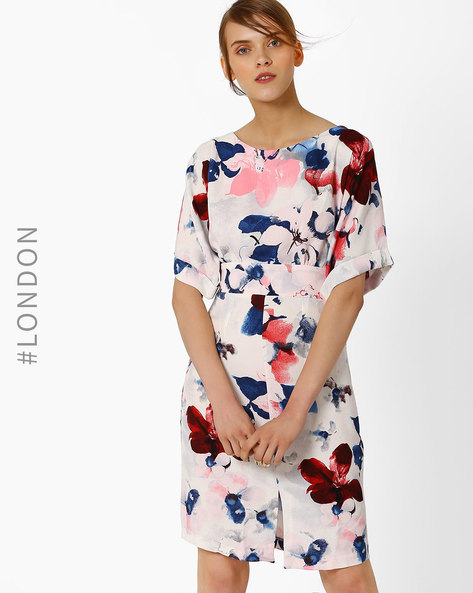Floral Print Dress With Front Split By Closet London ( Multi )