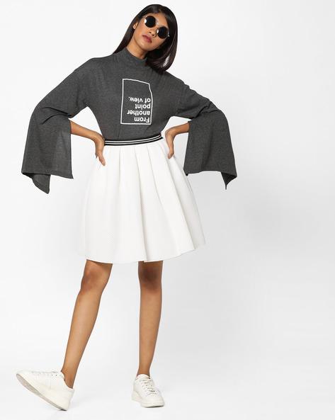 High-Neck Typographic Print T-shirt By AJIO ( White )